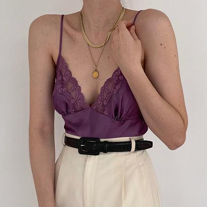 Vintage Victoria's Secret Plum Lacy Satin Camisole