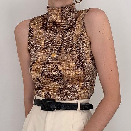 Vintage Neutral Textured High Neck Top