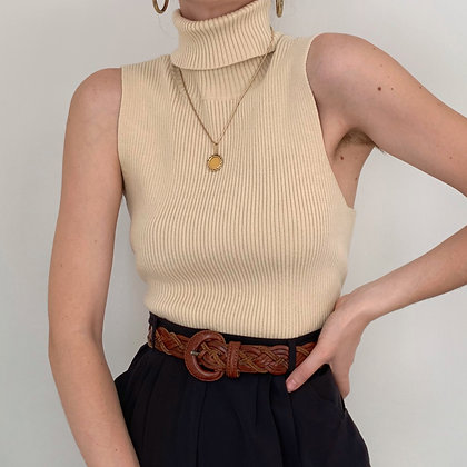 Vintage Oat Ribbed Sleeveless Turtleneck