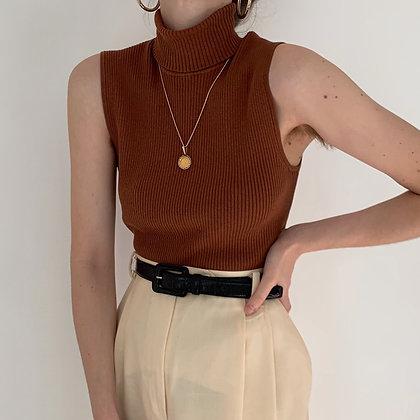 Vintage Cinnamon Knit Sleeveless Turtleneck