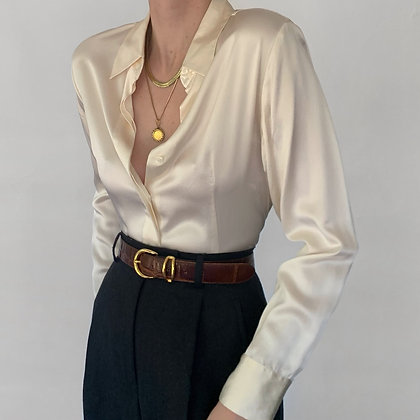 Vintage Pearl Silk Charmeuse Blouse