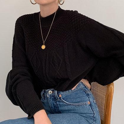 Vintage Black Textured Knit Sweater