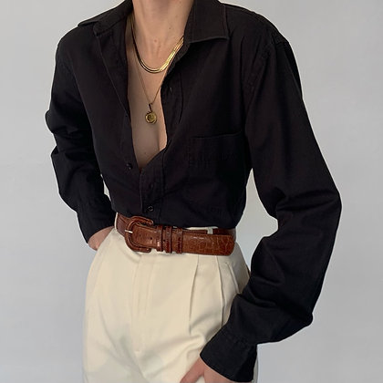 Vintage Yves Saint Laurent Noir Button Up Blouse