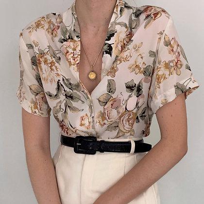 Vintage Floral Silk Buttoned Blouse