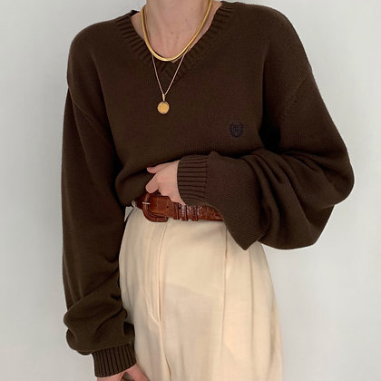 Vintage Chaps Chocolate Knit Sweater