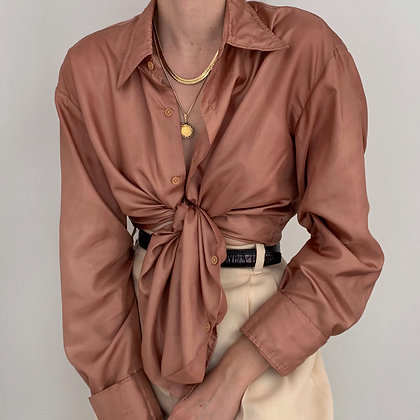 Vintage Rose Gold Button Up Blouse