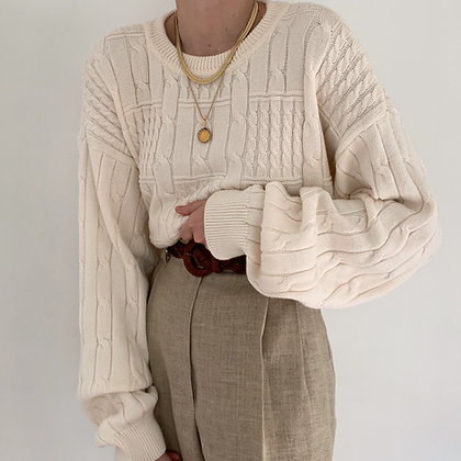 Vintage Ivory Cable Grid Knit Sweater