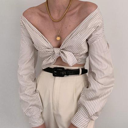 Vintage Neutral Striped Button Up Blouse