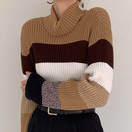 Vintage Neutral Striped Ribbed Turtleneck