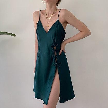 Vintage Pine Satin Leg Slit Slip Dress