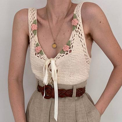 Vintage Cream Rosette Knit Top