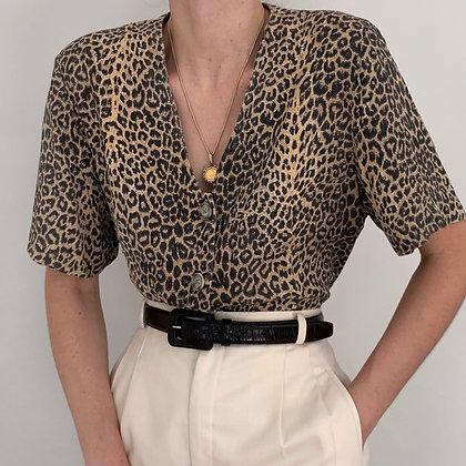 Vintage Leopard Print Buttoned Blouse