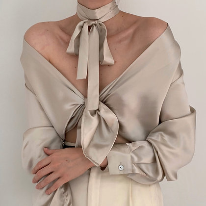 Vintage Pearlescent Silk Blouse with Tie