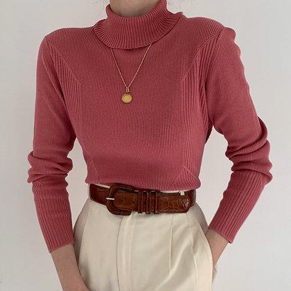 Vintage Rose Silk Blend Ribbed Turtleneck