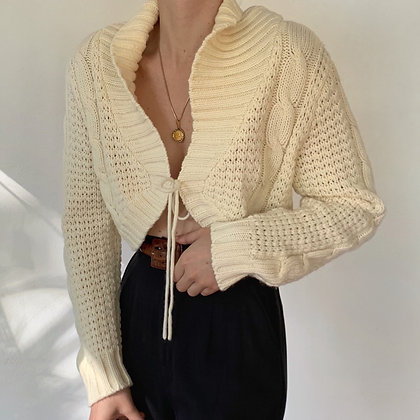 Vintage Buttercream Knit Cropped Tie Sweater