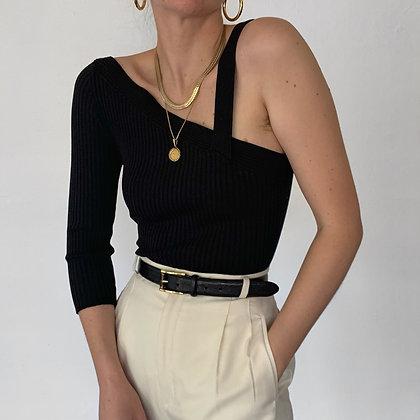 Vintage Noir Silk Knit Asymmetrical Top