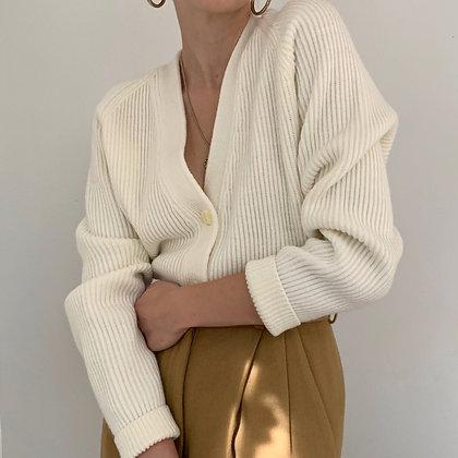 Vintage Ivory Ribbed Chunky Knit Cardigan