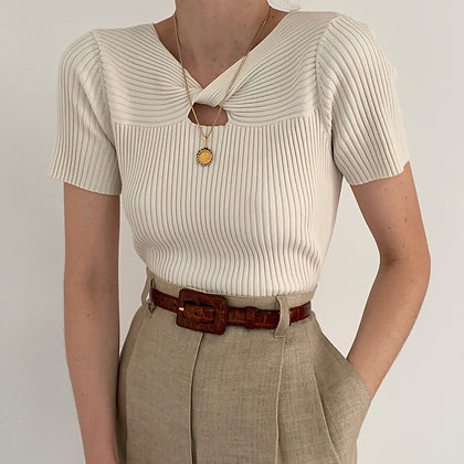Vintage Eggshell Twisted Ribbed Knit Top