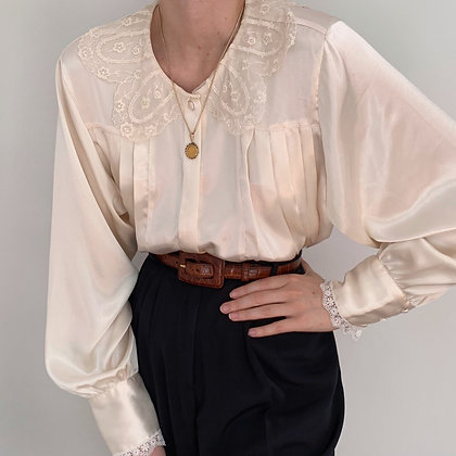 Vintage Pearl Satin Lacy Pleated Blouse