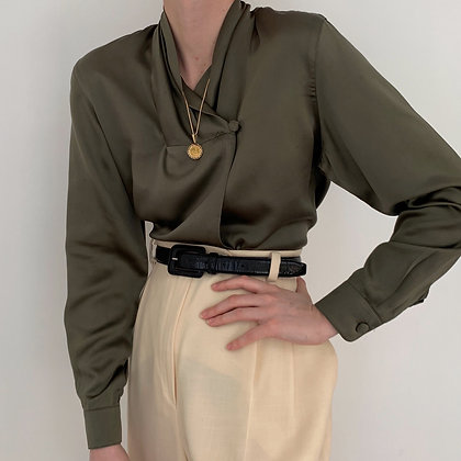 Vintage Anne Klein Olive Silk Charmeuse Blouse