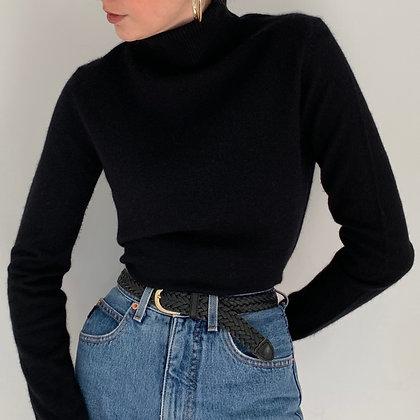 Vintage Black Cashmere Turtleneck