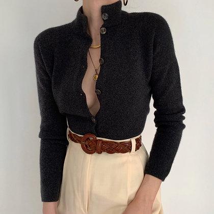 Jil Sander Charcoal Buttoned Knit Sweater