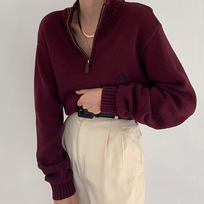 Vintage Chaps Mulberry Half Zip Knit Sweater
