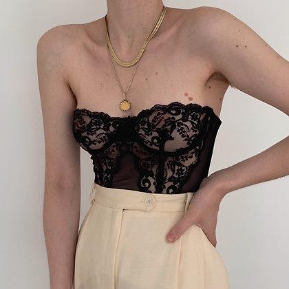 Vintage Victoria's Secret Noir Lacy Bustier (34B)