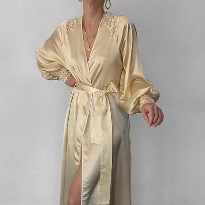 Rare Vintage Valentino Creme Satin Wrap Gown