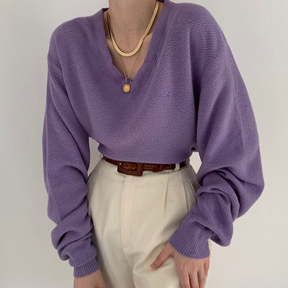Vintage Dior Lavender V-Neck Knit Sweater