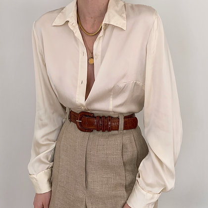 Vintage Pearl Silk Charmeuse Button Up