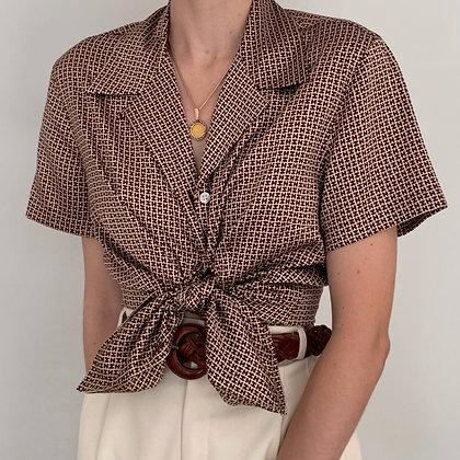 Vintage Halston Print Silk Blouse
