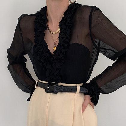 Vintage Ralph Lauren Noir Silk Ruffle Blouse