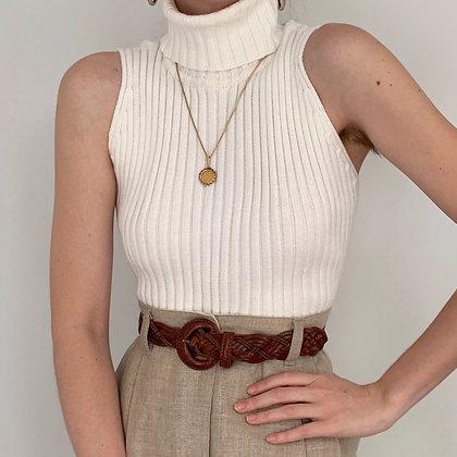 Vintage White Ribbed Sleeveless Turtleneck