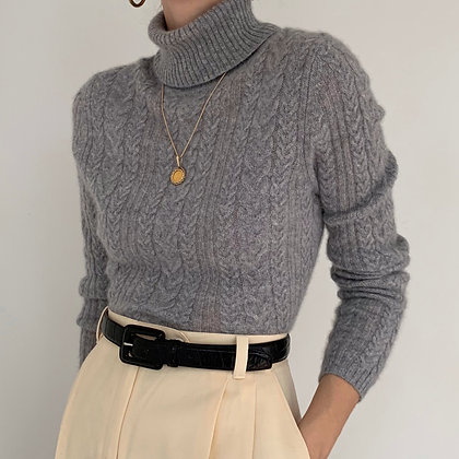 Vintage Ash Gray Cashmere Knit Turtleneck