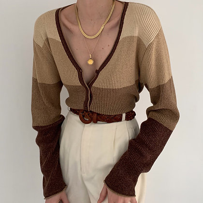 Vintage Neutral Striped Ribbed Knit Cardigan
