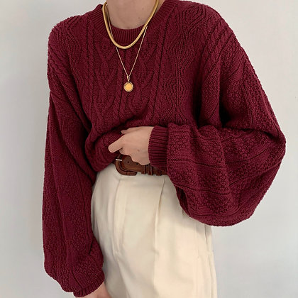Vintage Burgundy Chunky Knit Sweater