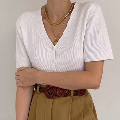 Vintage White Ribbed Knit Buttoned Shirt