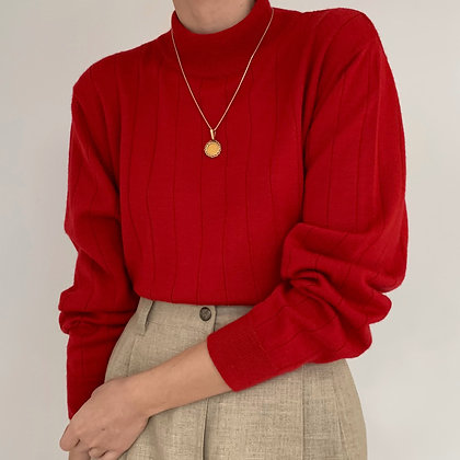 Vintage Cherry Red Ribbed Mock Neck Knit Pullover