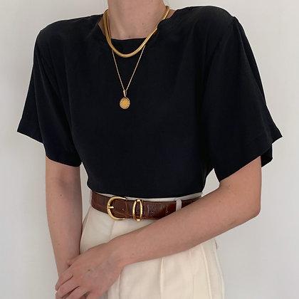 Vintage Onyx Silk Boxy Minimalist Blouse