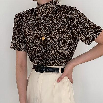 Vintage Leopard Print Slinky Mock Neck Top