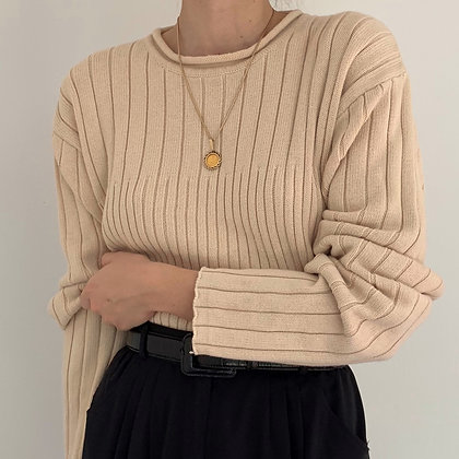 Vintage Sand Ribbed Knit Pullover