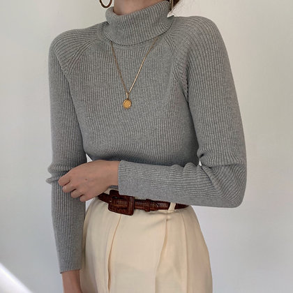 Vintage Essential Heather Ribbed Knit Turtleneck