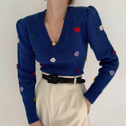 Vintage Cobalt Polka Dot Knit Sweater