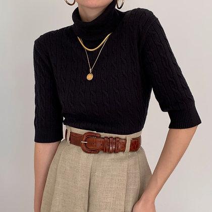 Vintage Black Cable Knit Turtleneck Shirt