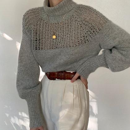 Vintage Dove Angora Mutton Sleeve Sweater