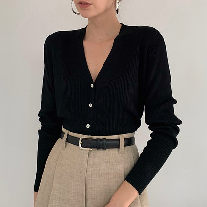Vintage Black Silk Ribbed Knit Cardigan