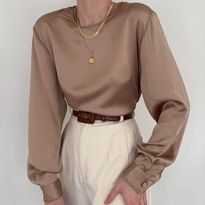 Deadstock Vintage Mocha Silk Blouse