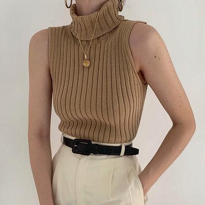 Vintage Camel Ribbed Knit Sleeveless Turtleneck
