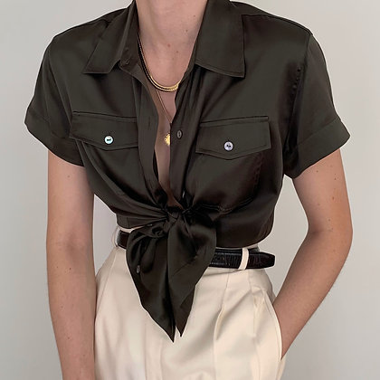 Vintage Olive Silk Charmeuse Button Up